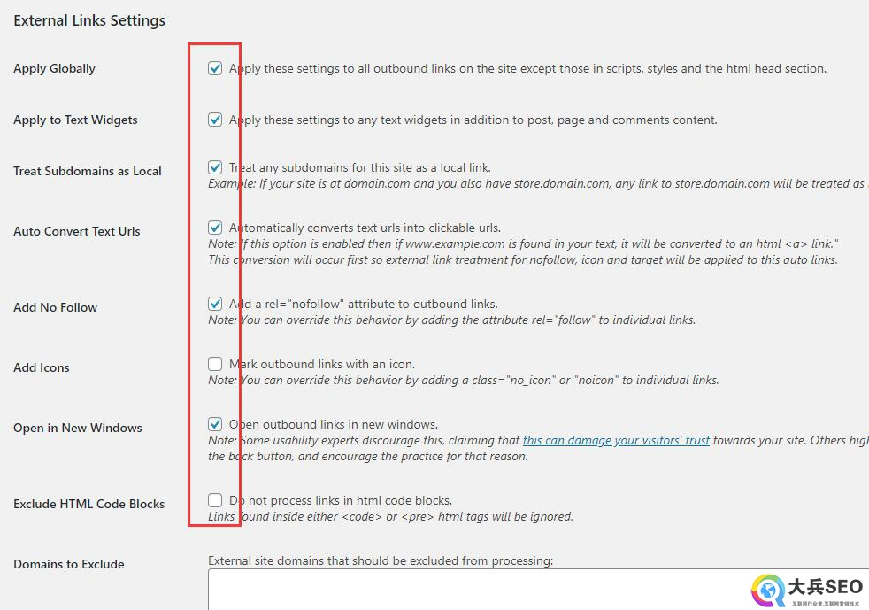 Sem External Links自动添加nofollow属性插件设置
