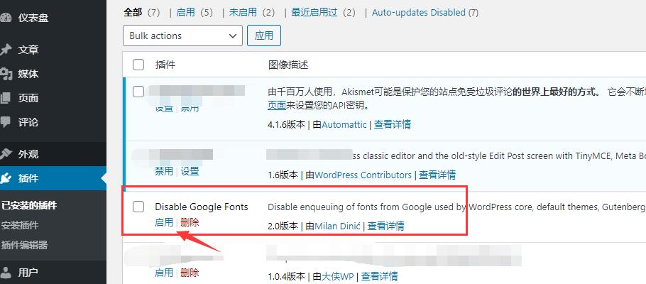 启用Disable Google Fonts插件