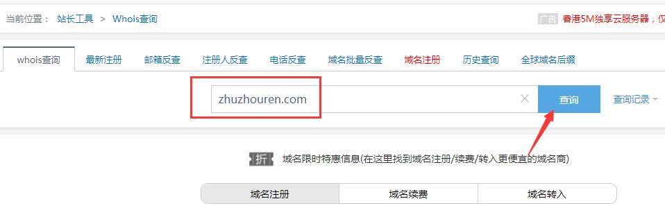 域名Whois查询输入框中输入要查询的域名