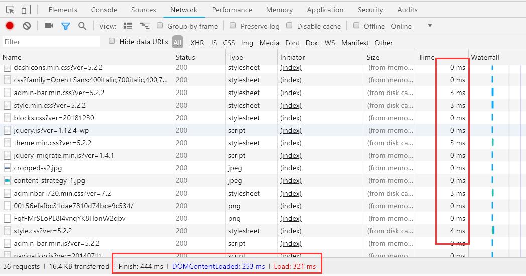 chrome浏览器网页加载time时间线
