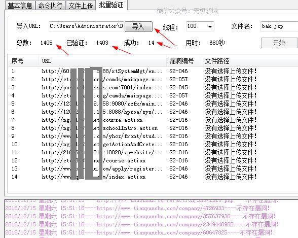 """网址导入到""""struts2漏洞软件""""中"""