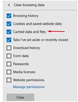 """选择""""缓存的数据和文件""""选项"""