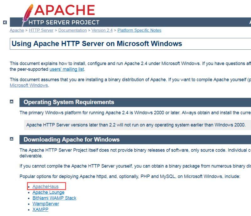 找到Downloading Apache for Windows栏