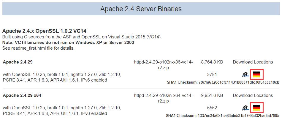 找到Apache 2.4 Server Binaries栏