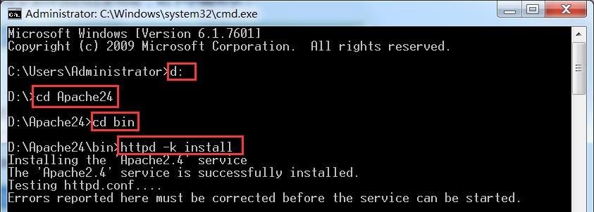 输入安装命令开始安装Apache服务