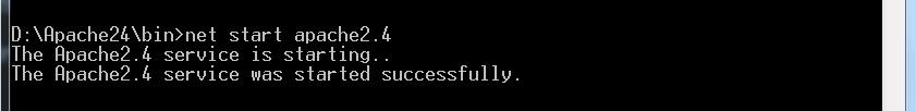 输入Apache启动命令启动服务