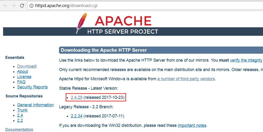 Apache下载网址