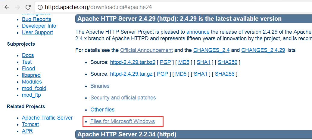 选择Windows文件格式Apache版本