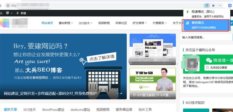 浏览器兼容模式下显示的网站页面