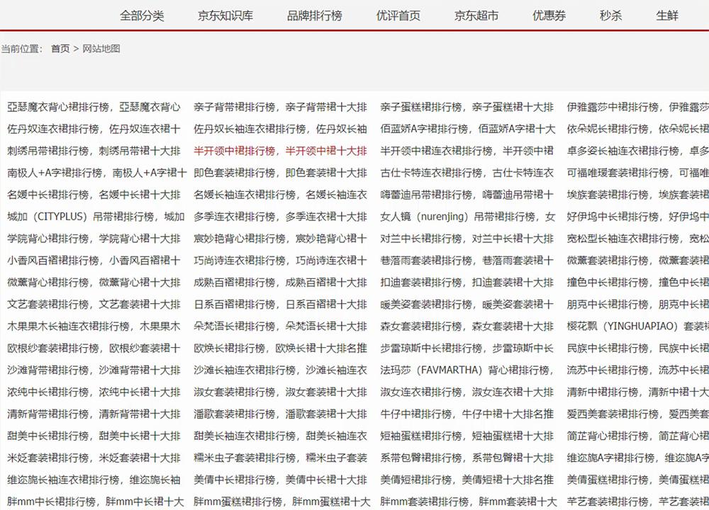 京东网站海量内容页面