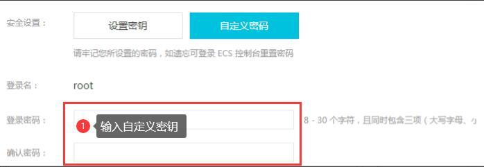 输入阿里云ECS服务器自定义密钥