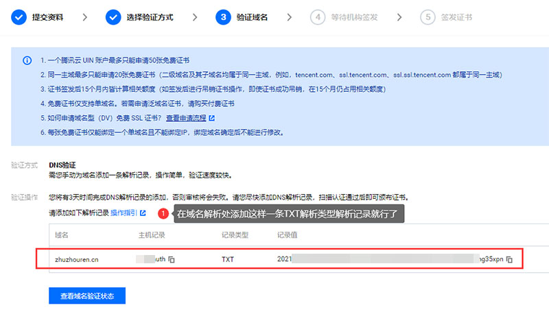 手动为域名添加一条TXT解析记录