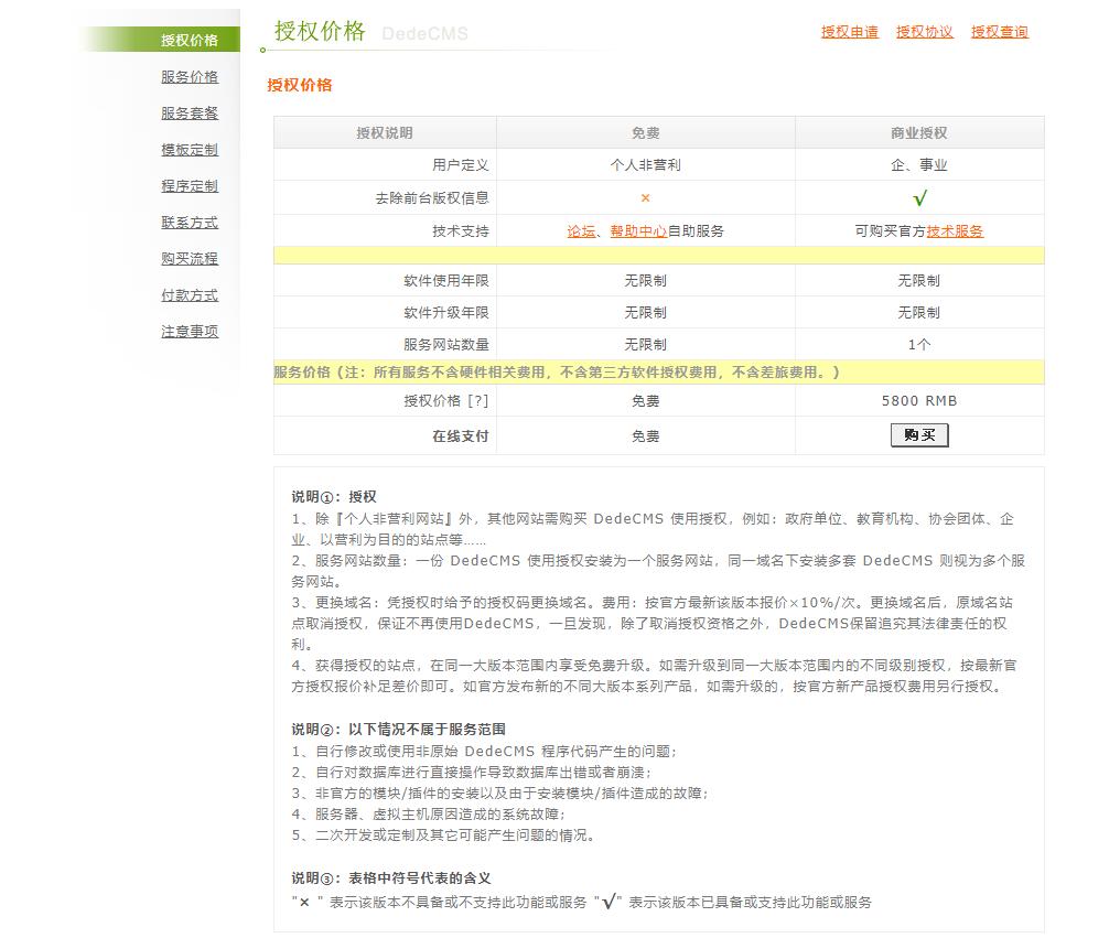 织梦官网商业授权价格明细
